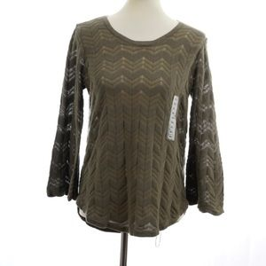 Eight Eight Eight Olive Greeen Bell Sleeve Top S